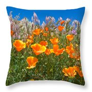 California Poppies, White Grasses And Blue Sky In Windy Antelope Valley Ca Poppy Reserve Throw Pillow