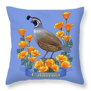 California Quail And Golden Poppies Throw Pillow by Crista Forest