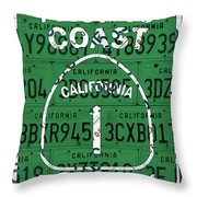 California Route 1 Pacific Coast Highway Sign Recycled Vintage License Plate Art Throw Pillow