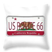 California Route 66 License Plate Throw Pillow