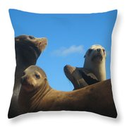 California Sea Lions Resting Throw Pillow