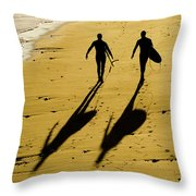 California Surfers On The Beach Throw Pillow