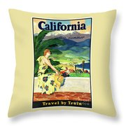 California This Summer Restored Vintage Poster Throw Pillow