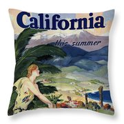 California This Summer - Travel By Train - Vintage Poster Folded Throw Pillow