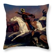 Californians Catching Wild Horses With Riata. Throw Pillow