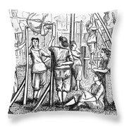 Calisthenics, 1867 Throw Pillow