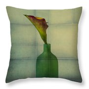 Calla Lily In Green Vase Throw Pillow