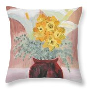 Callas, Daffys, And Dusty Miller Throw Pillow