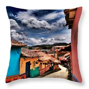 Calle De Colores Throw Pillow