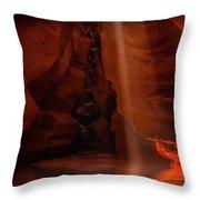 Calling The Light Beam- Upper Antelope Canyon Throw Pillow