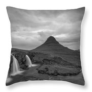 Calm Before The Storm At Kirkjufell Bw Throw Pillow