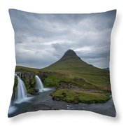 Calm Before The Storm At Kirkjufell Throw Pillow