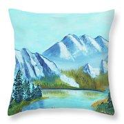 Calm Mountain Stream Throw Pillow