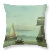 Calm On The Humber, 1864 Throw Pillow