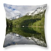 Calm Reflection On String Lake Throw Pillow