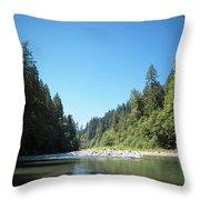 Calm Sandy River In Sandy, Oregon Throw Pillow