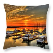 Calm Waters Bull River Marina Tybee Island Savannah Georgia Art Throw Pillow