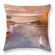 Calpe At Sunset Throw Pillow by Miki De Goodaboom