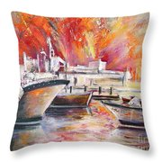 Calpe Harbour Spain Throw Pillow