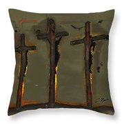 Calvary Throw Pillow by Charlie Roman