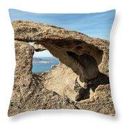 Calvi In Corsica Viewed Through A Hole In A Rock Throw Pillow