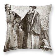 Calvin And Servetus Before The Council Of Geneva Throw Pillow
