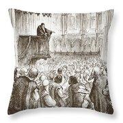 Calvin Preaching His Farewell Sermon In Expectation Of Banishment Throw Pillow