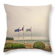 Camaret Sur Mer, Brittany, France, Bicyclist Throw Pillow
