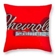 Camaro Logo On Cherry Red Car Throw Pillow