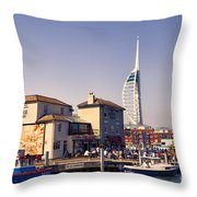 Camber Dock, Old Portsmouth Throw Pillow