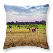 Cambodia Field Workers Harvesting Rice Throw Pillow