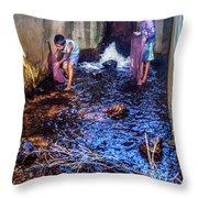 Cambodian Boys Netting Fish Throw Pillow