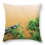 Cambodian Fishing Boat Throw Pillow