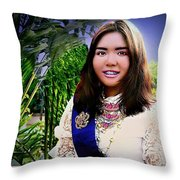 Cambodian Girl In National Dress Throw Pillow