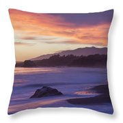 Cambria Coastline With Purple Sunset Colors Throw Pillow