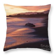 Cambria Coastline With Shimmering Sunset Color Throw Pillow