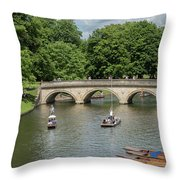 Cambridge Punting On The River Throw Pillow