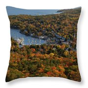 Camden Harbor In The Fall Throw Pillow