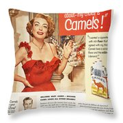 Camel Cigarette Ad, 1951 Throw Pillow