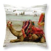 Camel For Ride  Throw Pillow