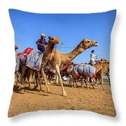 Camel Racing In Dubai Throw Pillow