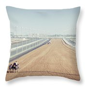 Camel Racing Track In Dubai Throw Pillow