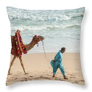 Camel Ride On Beach Throw Pillow
