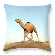 Camel Running - 3d Render Throw Pillow