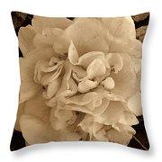 Camellia Sepia Throw Pillow
