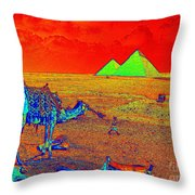 Camels At Giza Throw Pillow