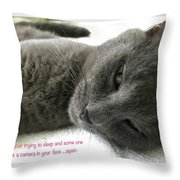 Resting Face Throw Pillow by Debbie Cundy