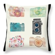 Cameras Of Today And Yesteryear Throw Pillow