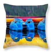 Cameron Lake Paddle Boats Throw Pillow