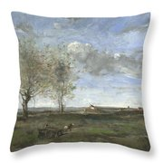 Camille Corot   A Wagon In The Plains Of Artois Throw Pillow